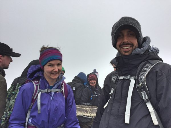 Me and the YL at the Toposcope on top of Snowdon (GW/NW-001) - Summit was packed!