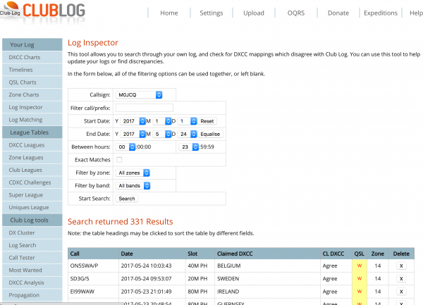 All QSO's are automatically uploaded to ClubLog