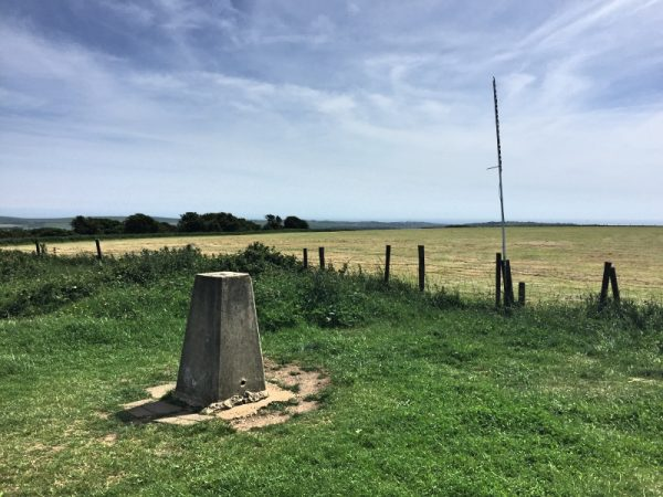 Trigpoint at Ditchling Beacon - notice 2m slimjim antenna in background