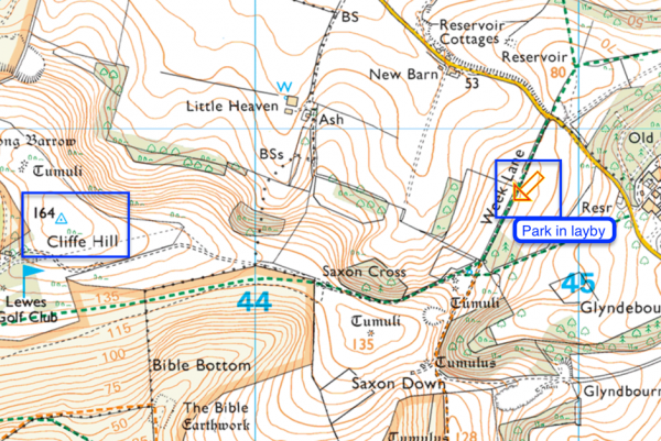 Map of Cliffe Hill Summit