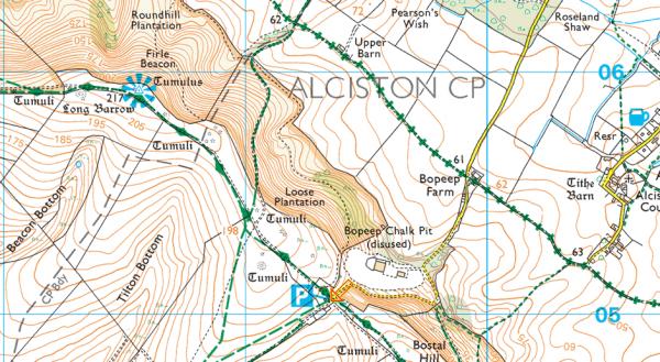 Map of Firle Beacon Summit