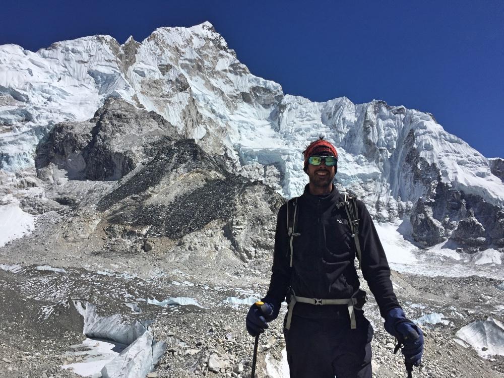 Me crossing a glacier (the longest in Nepal)