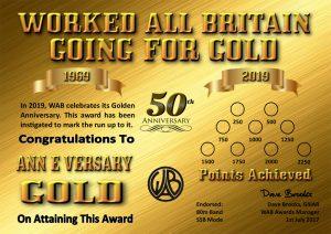 WAB Going for Gold Award