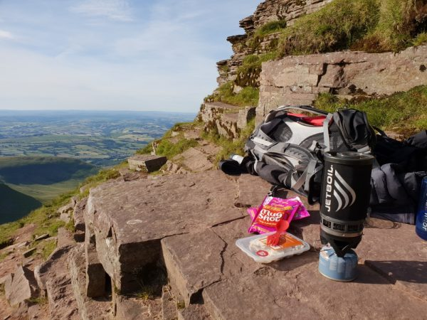 Cooking my evening meal on the way up