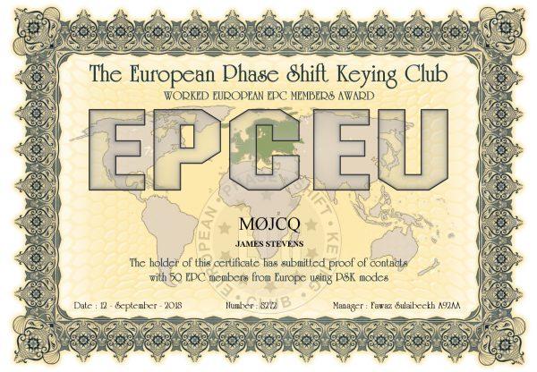 Worked European EPC Members Award - 50 EPC Members from Europe