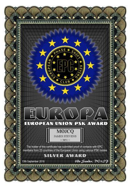 European Union PSK Award - Silver - Worked 25 EU countries using PSK