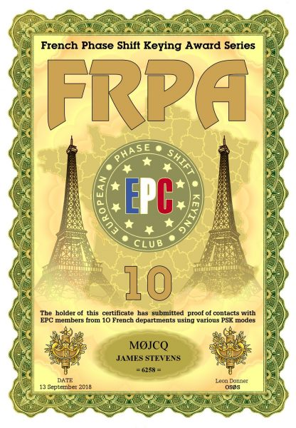 French Phase Shift Keying Award - 10 French Departments