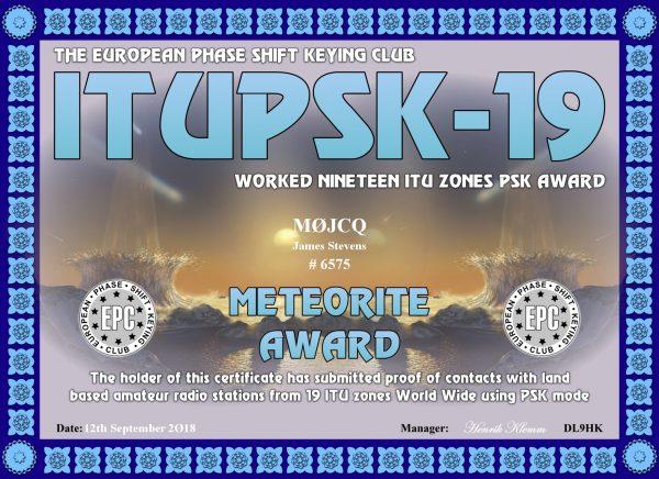 Working Nineteen ITU Zones PSK Award