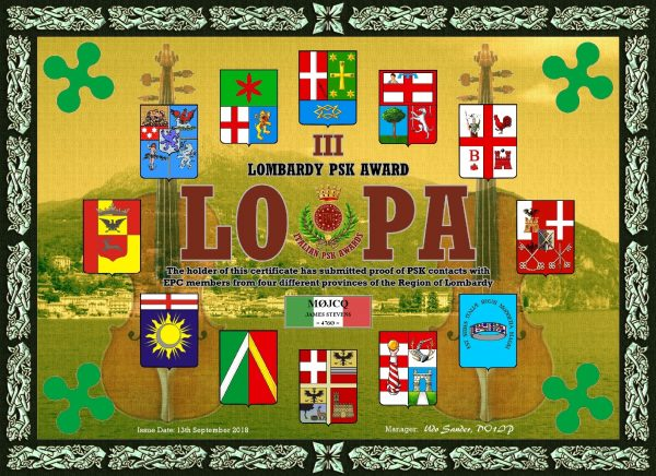 Lombardy PSK Award - working EPC members in the Lombardy region of Italy