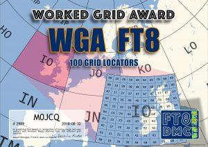 WGA FT8 Award - Worked 100 Grid Locators using FT8