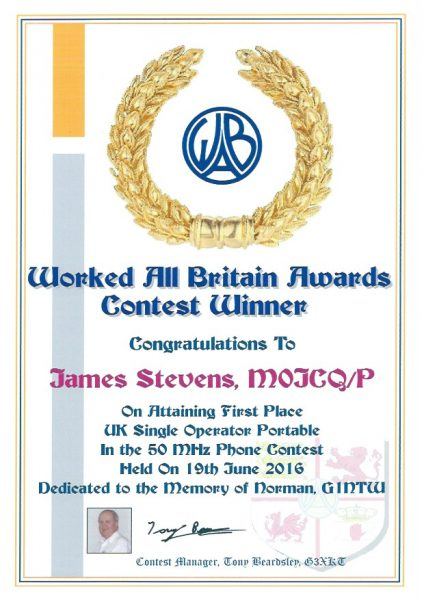 WAB Contest - 50Mhz - First Place 2016