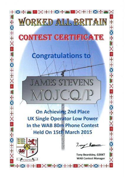 WAB Contest - 80m - Second Place Low Power 2015