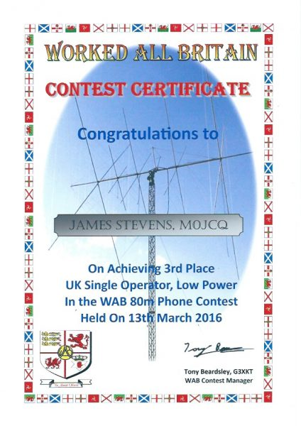 WAB Contest - 80m - Third Place Low Power 2016