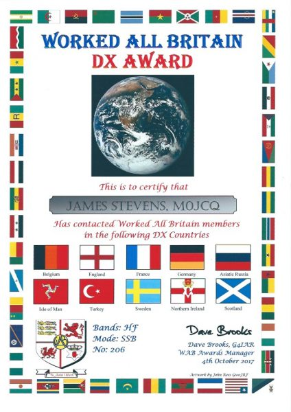WAB DX Award - Mixed HF SSB