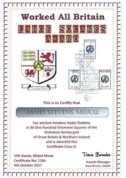 WAB Large Squares Award - VHF - First Class
