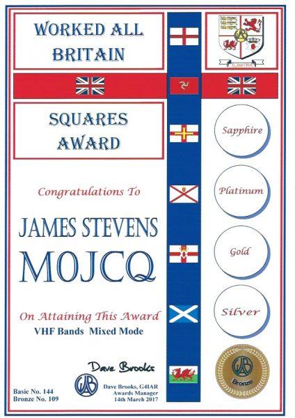 WAB Small Squares Award - VHF - Bronze