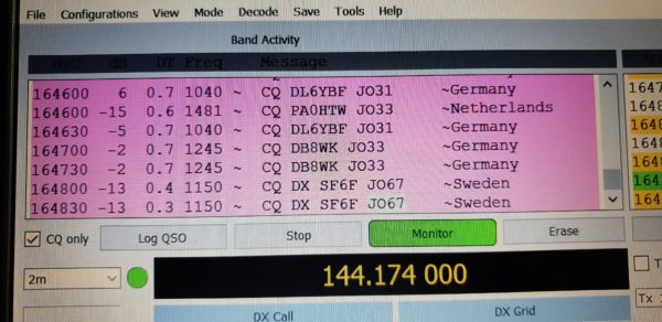 2m FT8 decodes during a tropo lift