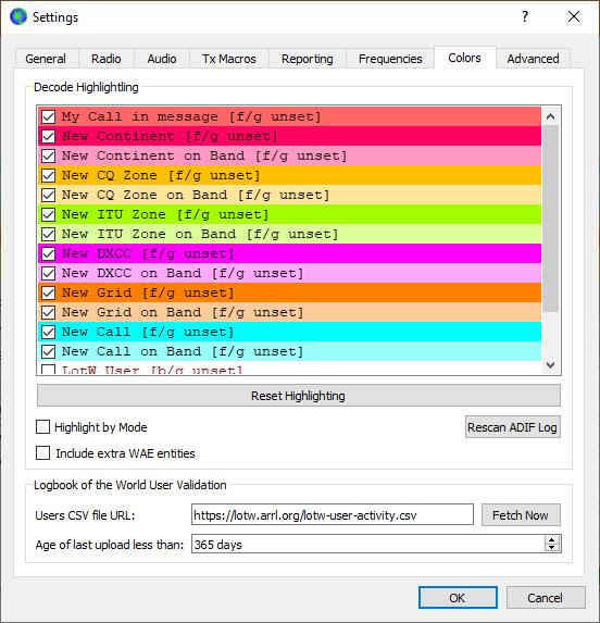 WSJT-X Message Colours